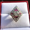 2.41ctw Art Deco Diamond and Ruby Dinner Ring GIA J SI1 13