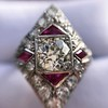 2.41ctw Art Deco Diamond and Ruby Dinner Ring GIA J SI1 12