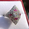 2.41ctw Art Deco Diamond and Ruby Dinner Ring GIA J SI1 14