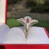 2.41ctw Art Deco Diamond and Ruby Dinner Ring GIA J SI1 8