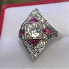 2.41ctw Art Deco Diamond and Ruby Dinner Ring GIA J SI1 24