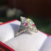 2.41ctw Art Deco Diamond and Ruby Dinner Ring GIA J SI1 18