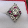 2.41ctw Art Deco Diamond and Ruby Dinner Ring GIA J SI1 23