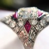 2.41ctw Art Deco Diamond and Ruby Dinner Ring GIA J SI1 21