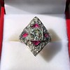 2.41ctw Art Deco Diamond and Ruby Dinner Ring GIA J SI1 28