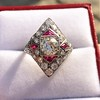 2.41ctw Art Deco Diamond and Ruby Dinner Ring GIA J SI1 4