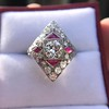 2.41ctw Art Deco Diamond and Ruby Dinner Ring GIA J SI1 17