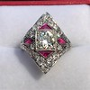 2.41ctw Art Deco Diamond and Ruby Dinner Ring GIA J SI1 22