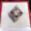 2.41ctw Art Deco Diamond and Ruby Dinner Ring GIA J SI1 7