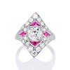 2.41ctw Art Deco Diamond and Ruby Dinner Ring GIA J SI1 0