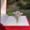 2.41ctw Art Deco Diamond and Ruby Dinner Ring GIA J SI1 30
