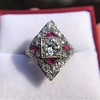 2.41ctw Art Deco Diamond and Ruby Dinner Ring GIA J SI1 16