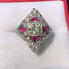 2.41ctw Art Deco Diamond and Ruby Dinner Ring GIA J SI1 9