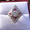 2.41ctw Art Deco Diamond and Ruby Dinner Ring GIA J SI1 11
