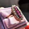 2.45ctw Victorian Diamond and Sapphire Oval Cluster Dinner Ring 29
