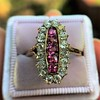 2.45ctw Victorian Diamond and Sapphire Oval Cluster Dinner Ring 17