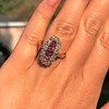 2.45ctw Victorian Diamond and Sapphire Oval Cluster Dinner Ring 40