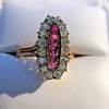 2.45ctw Victorian Diamond and Sapphire Oval Cluster Dinner Ring 7