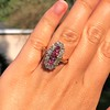 2.45ctw Victorian Diamond and Sapphire Oval Cluster Dinner Ring 35