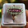 2.45ctw Victorian Diamond and Sapphire Oval Cluster Dinner Ring 16