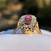 2.45ctw Victorian Diamond and Sapphire Oval Cluster Dinner Ring 11