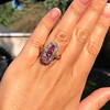 2.45ctw Victorian Diamond and Sapphire Oval Cluster Dinner Ring 36