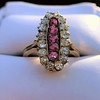 2.45ctw Victorian Diamond and Sapphire Oval Cluster Dinner Ring 34