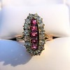 2.45ctw Victorian Diamond and Sapphire Oval Cluster Dinner Ring 12