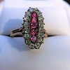 2.45ctw Victorian Diamond and Sapphire Oval Cluster Dinner Ring 8