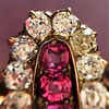 2.45ctw Victorian Diamond and Sapphire Oval Cluster Dinner Ring 22
