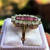 2.45ctw Victorian Diamond and Sapphire Oval Cluster Dinner Ring 15