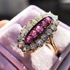 2.45ctw Victorian Diamond and Sapphire Oval Cluster Dinner Ring 32