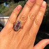 2.45ctw Victorian Diamond and Sapphire Oval Cluster Dinner Ring 39