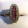 2.45ctw Victorian Diamond and Sapphire Oval Cluster Dinner Ring 9
