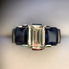 2.83ctw Vintage Emerald Diamond and Sapphire Trilogy Ring 29