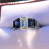 2.83ctw Vintage Emerald Diamond and Sapphire Trilogy Ring 16