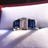 2.83ctw Vintage Emerald Diamond and Sapphire Trilogy Ring 20