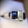 2.83ctw Vintage Emerald Diamond and Sapphire Trilogy Ring 27