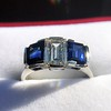 2.83ctw Vintage Emerald Diamond and Sapphire Trilogy Ring 6