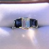 2.83ctw Vintage Emerald Diamond and Sapphire Trilogy Ring 17