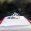 2.83ctw Vintage Emerald Diamond and Sapphire Trilogy Ring 7
