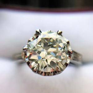 2.91ct Old European Cut Diamond Art Deco Ring GIA L VS