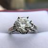 2.91ct Old European Cut Diamond Art Deco Ring GIA L VS 30