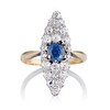 2.93ct Antique Diamond and Sapphire Navette Dinner Ring 0