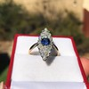 2.93ct Antique Diamond and Sapphire Navette Dinner Ring 3