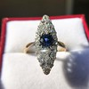 2.93ct Antique Diamond and Sapphire Navette Dinner Ring 11