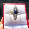 2.93ct Antique Diamond and Sapphire Navette Dinner Ring 8