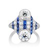 3.08ctw Edwardian Toi et Moi OEC and Sapphire Ring 0
