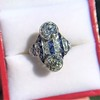 3.08ctw Edwardian Toi et Moi OEC and Sapphire Ring 13