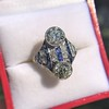 3.08ctw Edwardian Toi et Moi OEC and Sapphire Ring 12